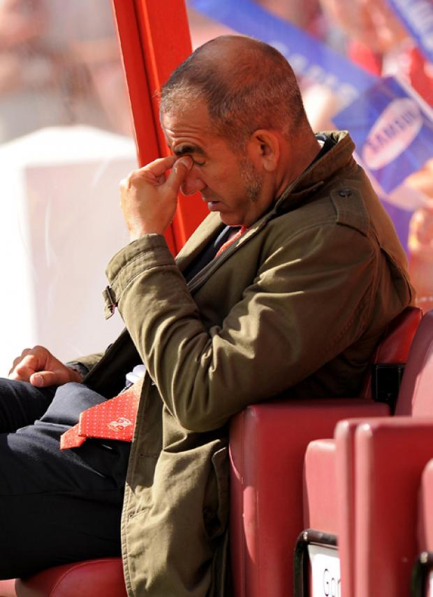 A frustrated looking Swindon Town boss Paolo Di Canio on Saturday