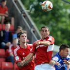 The Wiltshire Gazette and Herald: Swindon Town's Joe Devera in action against Leyton Orient