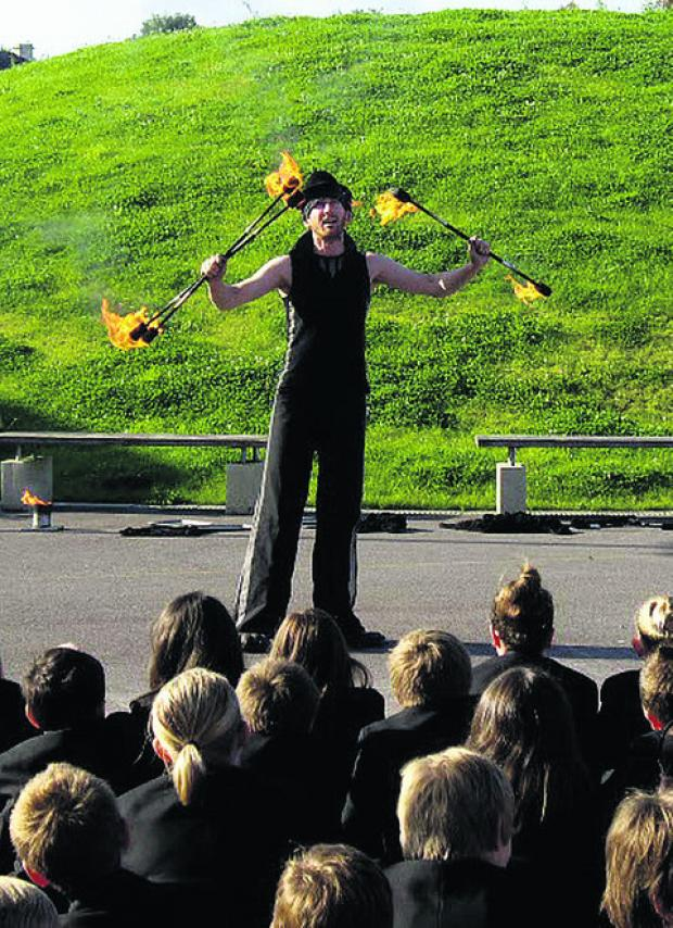 Fire-eater Steve Brown goes through his paces