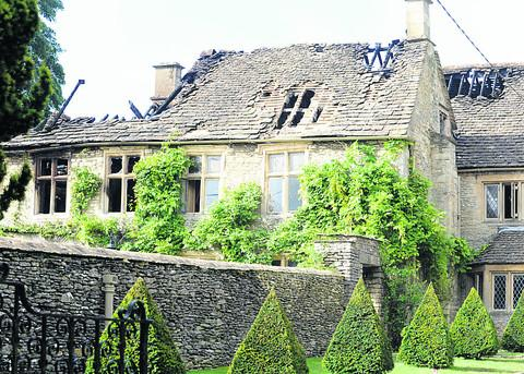 The fire ravaged Luckington Manor