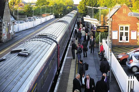 Commuters board a train at Pewsey station this week