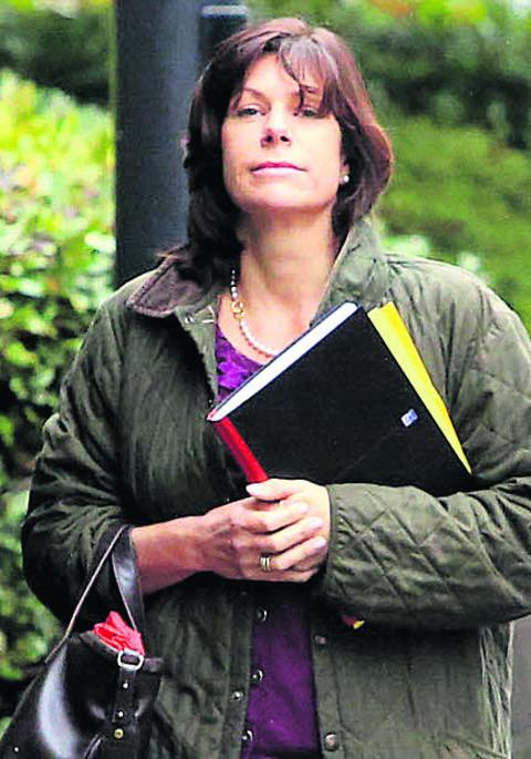 Claire Perry arrives at the hearing