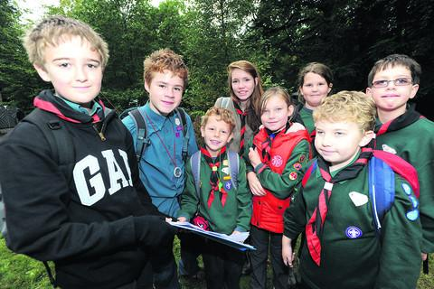 Some of the Cubs and Scouts who took part in Saturday's adventure