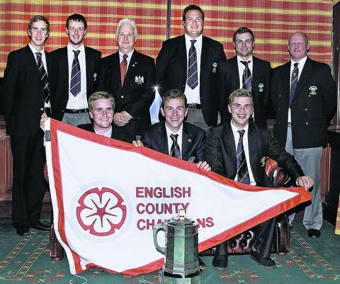 Pictured, back (l-r): Josh Loughrey, Garry Slade, English Golf Union director Graham Wagstaff, Ali James, Jordan Smith, Pete Bicknell; front: Robbie Busher, David Bauer (captain), Ben Loughrey