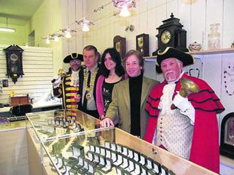 Royal Wootton Bassett town crier Owen Collier, Malmesbury mayor Steve Cox, Soraya, Julian Middleton and Malmesbury town crier David Shelley at the official opening of Mr Middleton's store last October