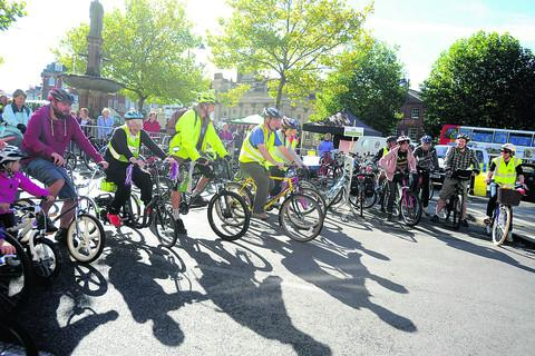 Cyclists of all ages line up to take part in one of the races during Saturday's Cycle Devizes! extravaganza
