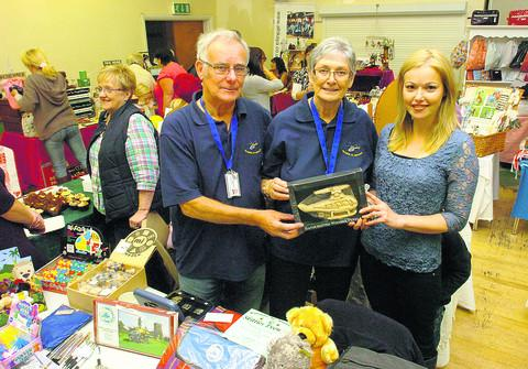 John and Sandra Phillips, from Wiltshire Air Ambulance, with Niki Connor, right, at Saturday's fair.