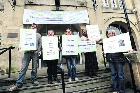 Alex, Bev, Mary, Chloe and Jackie outside Chippenham Town Hall yesterday