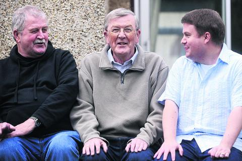 Derek Griffin, centre, with son Philip, right, and brother Ken, left