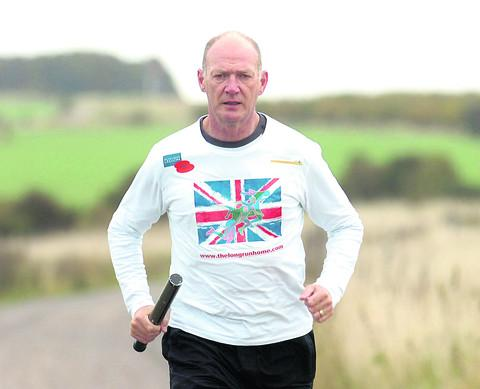 Martyn Bird trains for his 300-mile run from the Thiepval memorial in France to Staffordshire to raise money for the Royal British Legion