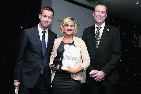 Jamie-Leigh Clayton with her Regional Apprenticeship Champion of the Year award, presented by Phillip Taylor, left, from The Apprentice, and John Chudley, southern divisional apprenticeship director at the Department for Business, Innovation and Sk