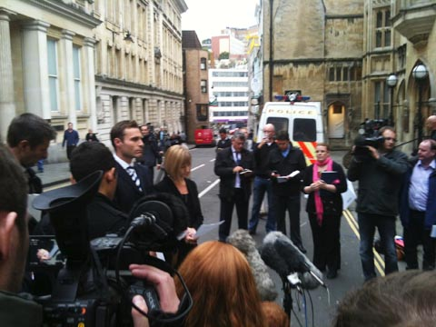 DCI Kier Pritchard and Hannah Squire of the CPS outside court
