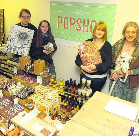 Chippenham Pop shop pictured Wil Tarrant, Bex Harris, Kita Bye and Ellie Gill in the new shop