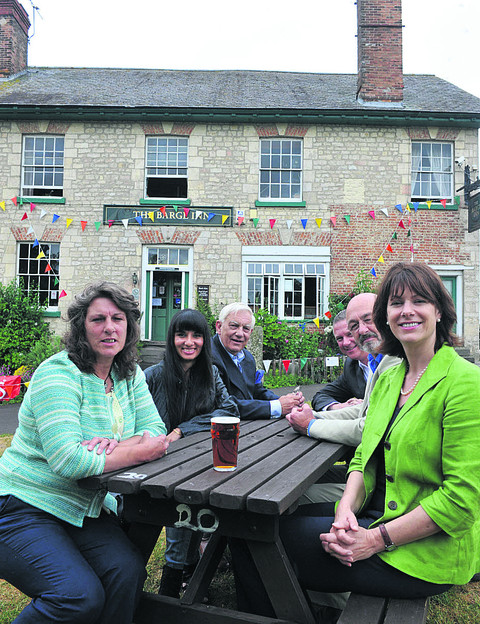 Claire Perry MP met the Barge Inn's buy-out group and Lottery officials in 2010. She is pictured, right, with Bev Mcenaney, Sandra Bhatia, John Brewin, Mark Cotton, of the National Lottery, and Terry Kemp