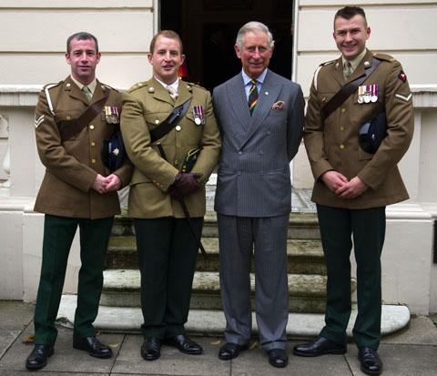 The Prince of Wales  meets Corporal Nick Webb, Corporal Robert Harmer and Captain Adam Crookshank at Clarence House