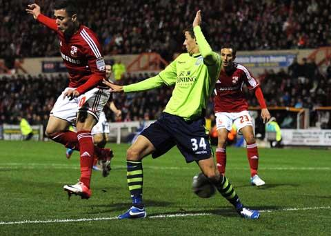 Swindon Town's Miles Storey scores his second against Aston Villa