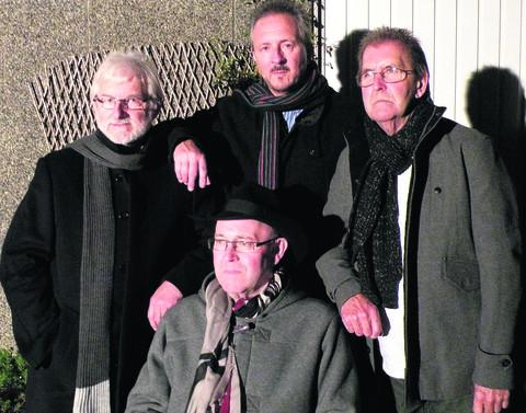 From left, Martin Ricketts, David Rees, Roy Taylor and, front, Dave Fisher as they are today