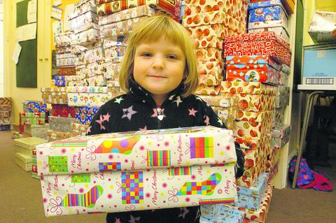Five-year-old Jessica Worrow with some of the boxes