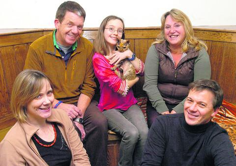 Andy and Jo Sheppard, back, with Eleanor Tew and Cleo and, front, her parents Anne and Rob Tew