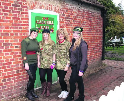 Lauren Harwood, Alice O'Brien, Molly Petherick and Megan Gee at the Caen Hill Café
