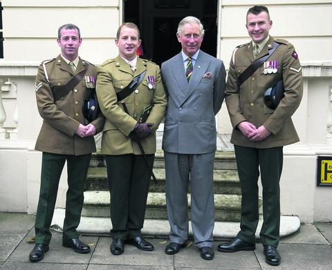 READY:The Prince of Wales,meets injured Dragoons L/Cpl Nick Webb, Cpl Robert Harmer and Capt Adam Crookshank.