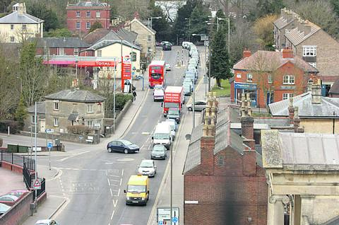 Traffic snakes through Northgate Street in Devizes