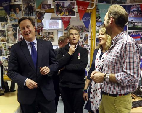 The Wiltshire Gazette and Herald: David Cameron meets co-founders Bryn and Emma Parry and Mark Elliott, Head of External Operations, at Tedworth House