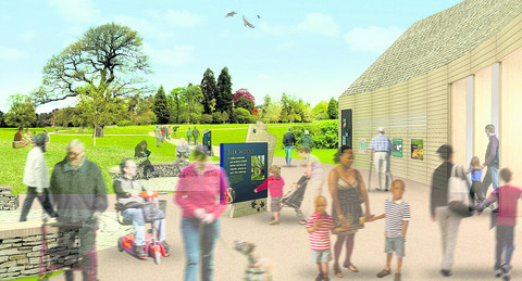 An artist's impression of the new Welcome Building at Westonbirt Arboretum