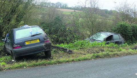 The two cars which crashed on the same stretch of road in separate incidents