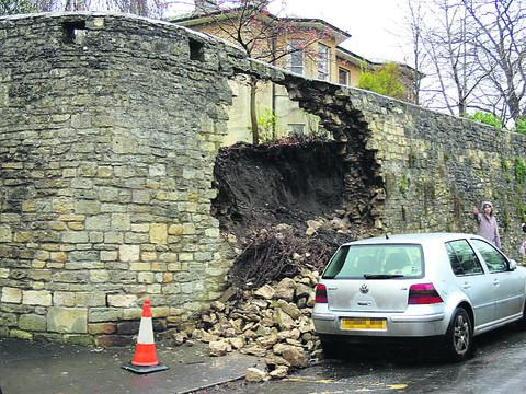 The wall at Freshford washed away by today's flood water