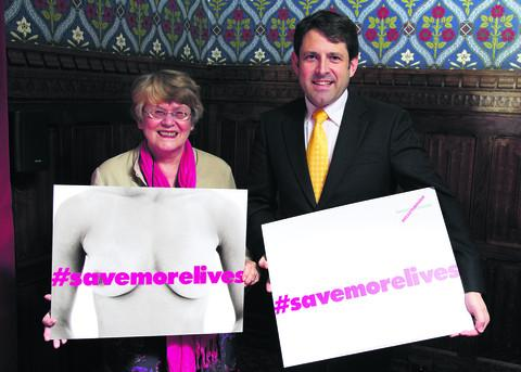 Judith Griffiths, who is backing Breakthrough Breast Cancer, with Chippenham MP Duncan Hames at Westminster