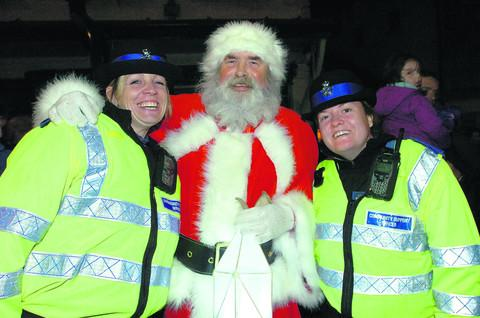 Santa with PCSOs Nichol Yates and Shelly Gray at last year's Calne Winter Festival. This year's event has been cancelled.