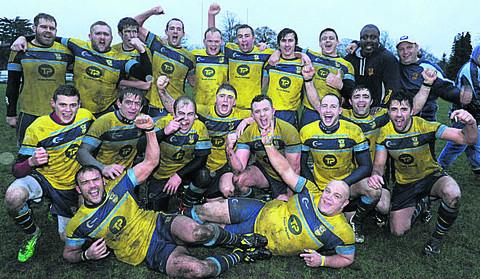 Trowbridge celebrate after winning the Dave Sullivan Memorial match at Devizes on Saturday