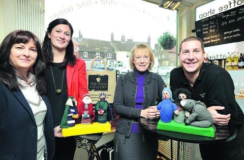 Nicole Vokins, Hannah Phillips, Sue Pearce and Richard Holman with the knitted Las Posadas figures
