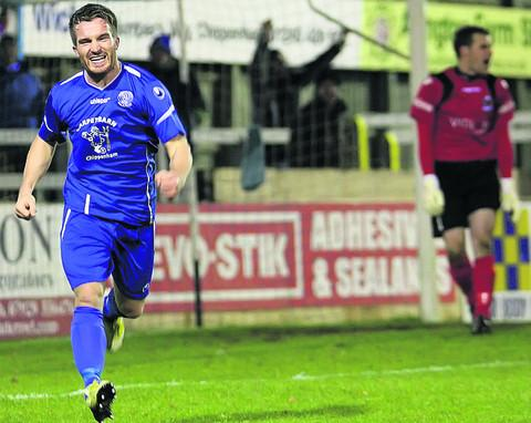 Tom Knighton celebrates his opener against Totton on Tuesday (Picture by Robin Foster)