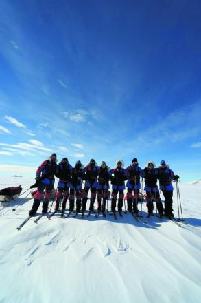 The South Pole trek team ready to set off