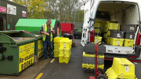 –Recycled Reading, the company responsible for recycling the books, on site during one of their collection rounds