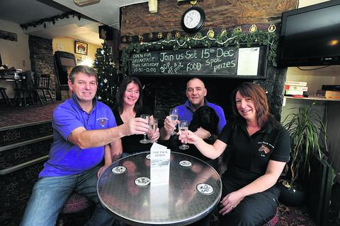 Packhorse pub owners, from left Ian and Michelle Ellwood and Ray and Liv Cusack, will celebrate their first year at the pub with a party