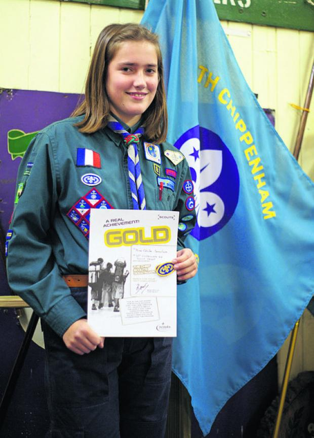 Chippenham scout Anne-Cecile Semichon was awarded a gold Chief Scout's Award for completing nine challenges
