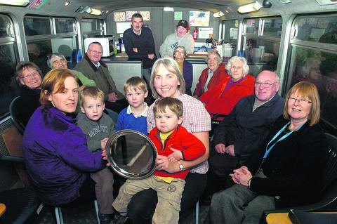 Lucy Waterman on the Open Blue Bus with members of the Lacock toddler group