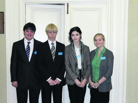 Hardenhuish School pupils Daniel Hughes, Luke Milsom, Charlotte Woodacre and Charlotte Farnsworth