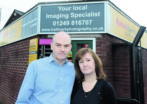 Kevin and Jayne Hall outside their shop, where their studio business will continue