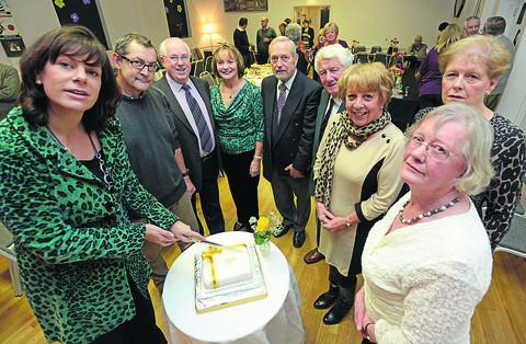 MP Claire Perry, left, joining villagers at a party to celebrate the hall's 50th birthday. Pictured with her are David Whitehead, John Head, Linda Hopkins, Roger Dickens, Peter Foxton, Trish Unwin, Pauline Dickens and Judith Tame