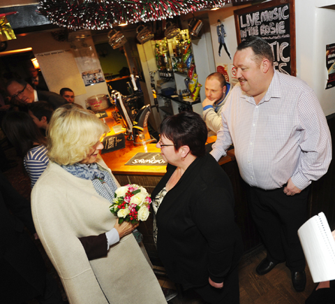 Camilla meets Tom and Carol Hudson of the Rose and Crown