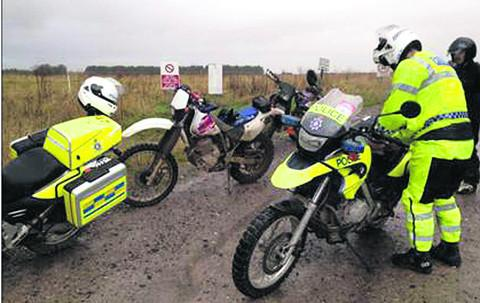 Police in action against illegal riders on MoD-owned areas of Salisbury Plain