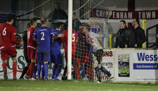 The scuffles at the end of Saturday's match with St Neots at Hardenhuish Park (Picture by Robin Foster)