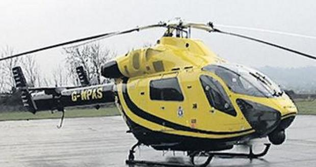 A Chippenham cyclist was airlifted to hospital after an accident in Devizes