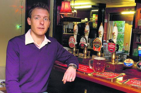 Clive Allen, of the Golden Fleece, Shaw, near Melksham, who took part in the protest against the beer tax rise in London with CAMRA
