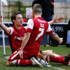 David Mooney celebrates his goal with Dean Cox: Simon O'Connor