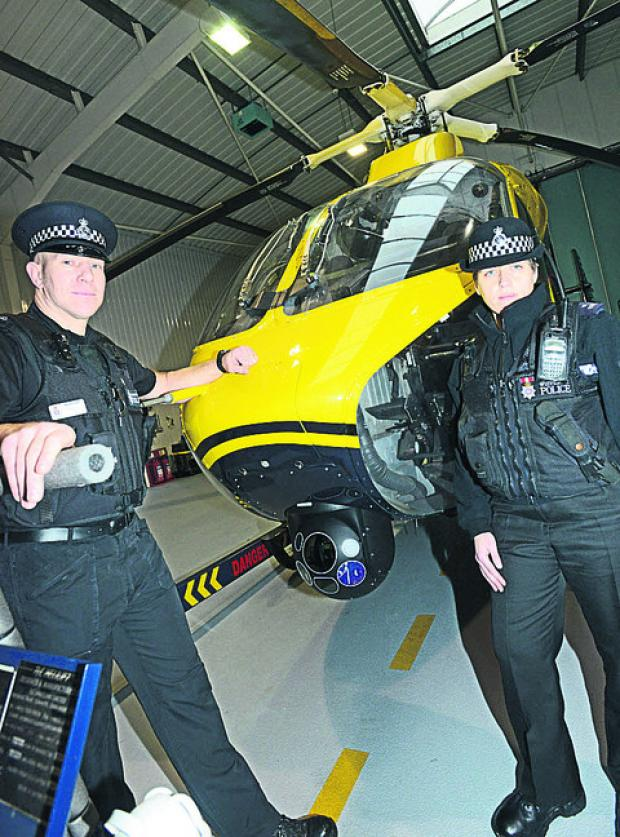 PC Pete Lawson and Emma Reed with the police helicopter